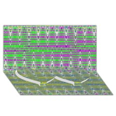 Colorful Zigzag Pattern Twin Heart Bottom 3d Greeting Card (8x4)  by BrightVibesDesign