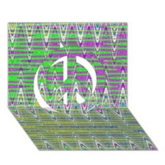 Colorful Zigzag Pattern Peace Sign 3d Greeting Card (7x5)