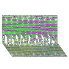 Colorful Zigzag Pattern Engaged 3d Greeting Card (8x4)  by BrightVibesDesign