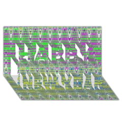 Colorful Zigzag Pattern Happy New Year 3d Greeting Card (8x4)  by BrightVibesDesign