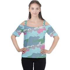 Sherbert Camo Spring 2016 Women s Cutout Shoulder Tee by FNCYCO