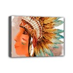 Native American Young Indian Shief Mini Canvas 7  x 5