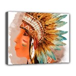 Native American Young Indian Shief Canvas 14  x 11