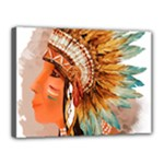 Native American Young Indian Shief Canvas 16  x 12