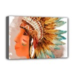 Native American Young Indian Shief Deluxe Canvas 18  x 12