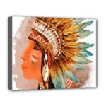 Native American Young Indian Shief Deluxe Canvas 20  x 16