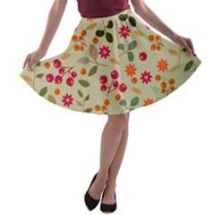 Elegant Floral Seamless Pattern A Line Skater Skirt