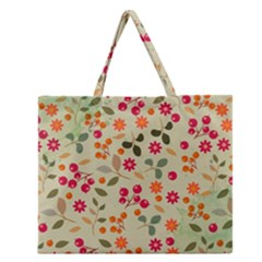 Elegant Floral Seamless Pattern Zipper Large Tote Bag
