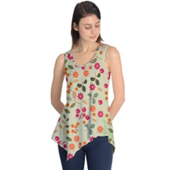 Elegant Floral Seamless Pattern Sleeveless Tunic