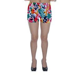 Seamless Autumn Leaves Pattern  Skinny Shorts