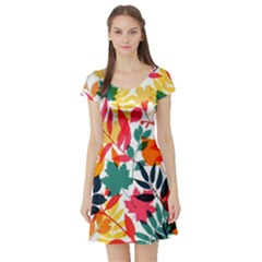 Seamless Autumn Leaves Pattern  Short Sleeve Skater Dress