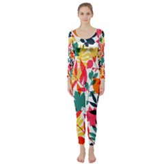 Seamless Autumn Leaves Pattern  Long Sleeve Catsuit