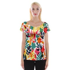 Seamless Autumn Leaves Pattern  Women s Cap Sleeve Top