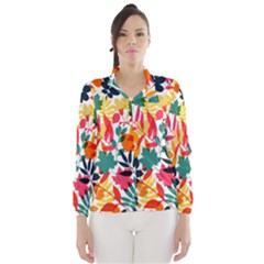Seamless Autumn Leaves Pattern  Wind Breaker (women)