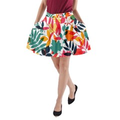 Seamless Autumn Leaves Pattern  A Line Pocket Skirt by TastefulDesigns