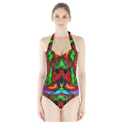 Faces Women s Halter One Piece Swimsuit