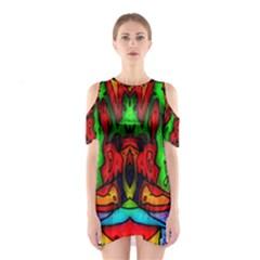 Faces Cutout Shoulder Dress