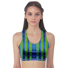 Blue Green Geometric Sports Bra
