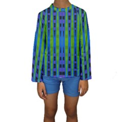 Blue Green Geometric Kid s Long Sleeve Swimwear by BrightVibesDesign