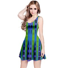 Blue Green Geometric Reversible Sleeveless Dress by BrightVibesDesign