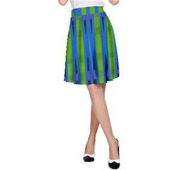 Blue Green Geometric A Line Skirt
