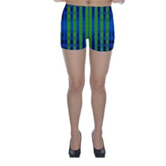 Blue Green Geometric Skinny Shorts