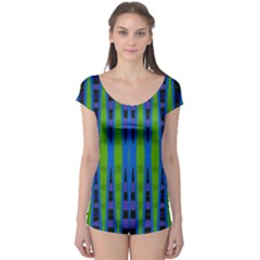 Blue Green Geometric Boyleg Leotard (ladies)