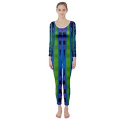 Blue Green Geometric Long Sleeve Catsuit