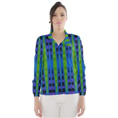 Blue Green Geometric Wind Breaker (women)