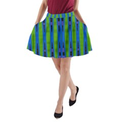 Blue Green Geometric A-Line Pocket Skirt by BrightVibesDesign