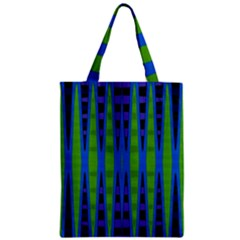 Blue Green Geometric Zipper Classic Tote Bag