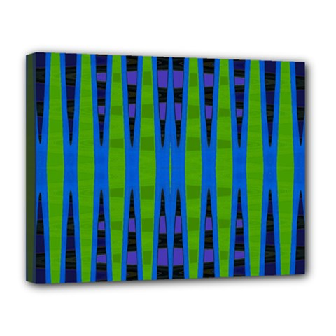 Blue Green Geometric Canvas 14  X 11  by BrightVibesDesign