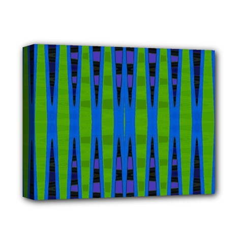Blue Green Geometric Deluxe Canvas 14  X 11  by BrightVibesDesign