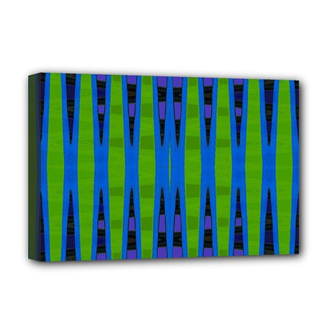 Blue Green Geometric Deluxe Canvas 18  X 12
