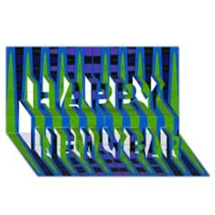 Blue Green Geometric Happy New Year 3d Greeting Card (8x4)