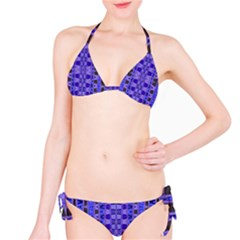 Blue Black Geometric Pattern Bikini Set