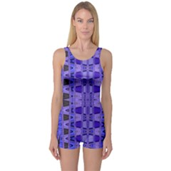 Blue Black Geometric Pattern One Piece Boyleg Swimsuit