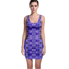 Blue Black Geometric Pattern Sleeveless Bodycon Dress