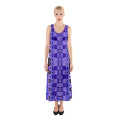 Blue Black Geometric Pattern Full Print Maxi Dress