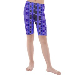 Blue Black Geometric Pattern Kid s Mid Length Swim Shorts