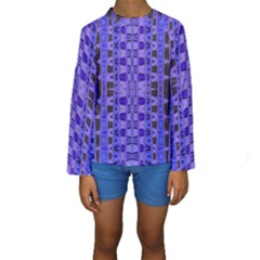 Blue Black Geometric Pattern Kid s Long Sleeve Swimwear