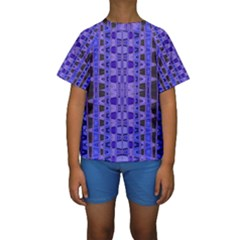 Blue Black Geometric Pattern Kid s Short Sleeve Swimwear