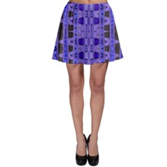 Blue Black Geometric Pattern Skater Skirt