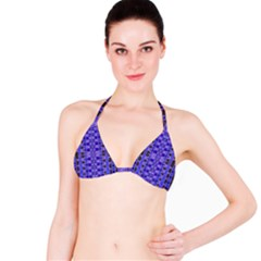 Blue Black Geometric Pattern Bikini Top
