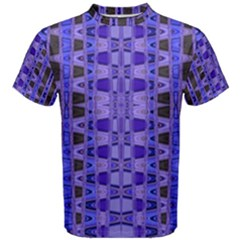 Blue Black Geometric Pattern Men s Cotton Tee