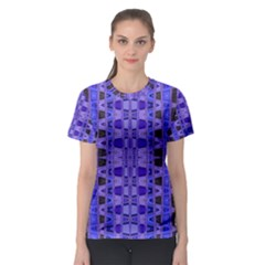 Blue Black Geometric Pattern Women s Sport Mesh Tee