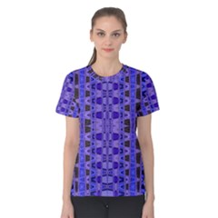 Blue Black Geometric Pattern Women s Cotton Tee