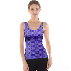 Blue Black Geometric Pattern Tank Top