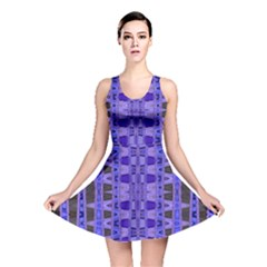 Blue Black Geometric Pattern Reversible Skater Dress