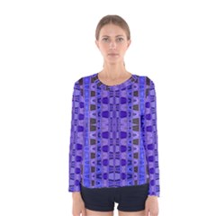 Blue Black Geometric Pattern Women s Long Sleeve Tee